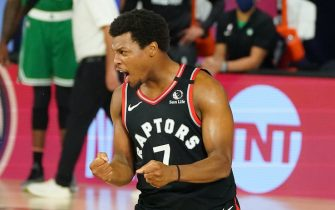 ORLANDO, FL - SEPTEMBER 3: Kyle Lowry #7 of the Toronto Raptors reacts during a game against the Boston Celtics during Game Three of the Eastern Conference Semifinals of the NBA Playoffs on September 3, 2020 at the The Field House at ESPN Wide World Of Sports Complex in Orlando, Florida. NOTE TO USER: User expressly acknowledges and agrees that, by downloading and/or using this Photograph, user is consenting to the terms and conditions of the Getty Images License Agreement. Mandatory Copyright Notice: Copyright 2020 NBAE (Photo by Jesse D. Garrabrant/NBAE via Getty Images)