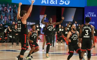 Orlando, FL - SEPTEMBER 3: The Toronto Raptors celebrate after OG Anunoby #3 of the Toronto Raptors shoots the game winning shot during the game against the Toronto Raptors during Game Three of the Eastern Conference Semifinals on September 3, 2020 in Orlando, Florida at The Field House. NOTE TO USER: User expressly acknowledges and agrees that, by downloading and/or using this Photograph, user is consenting to the terms and conditions of the Getty Images License Agreement. Mandatory Copyright Notice: Copyright 2020 NBAE (Photo by Nathaniel S. Butler/NBAE via Getty Images)