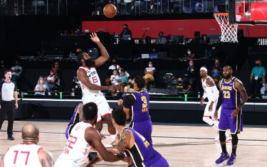 ORLANDO, FL - SEPTEMBER 4: James Harden #13 of the Houston Rockets shoots the ball against the Los Angeles Lakers during Game One of the Western Conference SemiFinals of the NBA Playoffs on September 4, 2020 at AdventHealth Arena in Orlando, Florida. NOTE TO USER: User expressly acknowledges and agrees that, by downloading and/or using this Photograph, user is consenting to the terms and conditions of the Getty Images License Agreement. Mandatory Copyright Notice: Copyright 2020 NBAE (Photo by Jesse D. Garrabrant/NBAE via Getty Images)