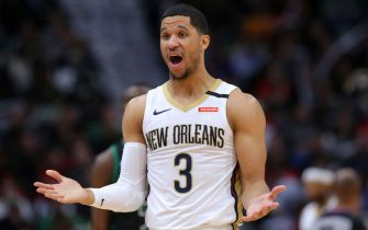 NEW ORLEANS, LOUISIANA - JANUARY 26: Josh Hart #3 of the New Orleans Pelicans reacts against the Boston Celtics during a game at the Smoothie King Center on January 26, 2020 in New Orleans, Louisiana. NOTE TO USER: User expressly acknowledges and agrees that, by downloading and or using this Photograph, user is consenting to the terms and conditions of the Getty Images License Agreement. (Photo by Jonathan Bachman/Getty Images)