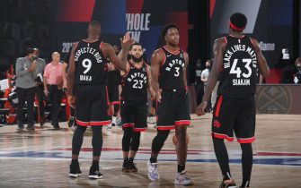 Orlando, FL - SEPTEMBER 5: The Toronto Raptors hi-five after a game against the Boston Celtics during Game Four of the Eastern Conference Semifinals on September 5, 2020 in Orlando, Florida at The Field House. NOTE TO USER: User expressly acknowledges and agrees that, by downloading and/or using this Photograph, user is consenting to the terms and conditions of the Getty Images License Agreement. Mandatory Copyright Notice: Copyright 2020 NBAE (Photo by Nathaniel S. Butler/NBAE via Getty Images)