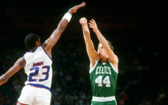 LANDOVER, MD - CIRCA 1987: Danny Ainge #44 of the Boston Celtics shoots over Charles Jones #23 of the Washington Bullets during an NBA basketball game circa 1987 at the Capital Centre in Landover, Maryland. Ainge played for the Celtics from 1981-89. (Photo by Focus on Sport/Getty Images) *** Local Caption *** Danny Ainge; Charles Jones