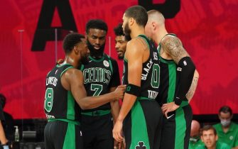ORLANDO, FL - SEPTEMBER 7: The Boston Celtics huddle up during a game against the Toronto Raptors during Game Three of the Eastern Conference Semifinals of the NBA Playoffs on September 7, 2020 at the The Field House at ESPN Wide World Of Sports Complex in Orlando, Florida. NOTE TO USER: User expressly acknowledges and agrees that, by downloading and/or using this Photograph, user is consenting to the terms and conditions of the Getty Images License Agreement. Mandatory Copyright Notice: Copyright 2020 NBAE (Photo by Jesse D. Garrabrant/NBAE via Getty Images)