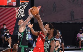 ORLANDO, FL - SEPTEMBER 7: Kyle Lowry #7 of the Toronto Raptors shoots the ball against the Boston Celtics during Game Five of the Eastern Conference SemiFinals of the NBA Playoffs on September 7, 2020 at The Field House in Orlando, Florida. NOTE TO USER: User expressly acknowledges and agrees that, by downloading and/or using this Photograph, user is consenting to the terms and conditions of the Getty Images License Agreement. Mandatory Copyright Notice: Copyright 2020 NBAE (Photo by Nathaniel S. Butler/NBAE via Getty Images)