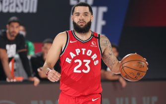 ORLANDO, FL - SEPTEMBER 7: Fred VanVleet #23 of the Toronto Raptors brings the ball up court during Game Five of the Eastern Conference SemiFinals of the NBA Playoffs on September 7, 2020 at The Field House in Orlando, Florida. NOTE TO USER: User expressly acknowledges and agrees that, by downloading and/or using this Photograph, user is consenting to the terms and conditions of the Getty Images License Agreement. Mandatory Copyright Notice: Copyright 2020 NBAE (Photo by Nathaniel S. Butler/NBAE via Getty Images)