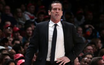 WASHINGTON, DC - FEBRUARY 1: Head Coach, Kenny Atkinson of the Brooklyn Nets looks on during the game against the Washington Wizards on February 1, 2020 at Capital One Arena in Washington, DC. NOTE TO USER: User expressly acknowledges and agrees that, by downloading and or using this Photograph, user is consenting to the terms and conditions of the Getty Images License Agreement. Mandatory Copyright Notice: Copyright 2020 NBAE (Photo by Ned Dishman/NBAE via Getty Images)
