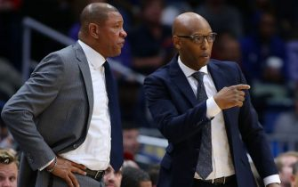 NEW ORLEANS, LOUISIANA - NOVEMBER 14: Head coach Doc Rivers of the LA Clippers and assistant coach Sam Cassell react during a game against the New Orleans Pelicans at the Smoothie King Center on November 14, 2019 in New Orleans, Louisiana. NOTE TO USER: User expressly acknowledges and agrees that, by downloading and or using this Photograph, user is consenting to the terms and conditions of the Getty Images License Agreement.  (Photo by Jonathan Bachman/Getty Images)