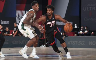ORLANDO, FL - SEPTEMBER 8: Jimmy Butler #22 of the Miami Heat drives to the basket against the Milwaukee Bucks during Game Five of the Eastern Conference SemiFinals of the NBA Playoffs on September 8, 2020 at The Field House in Orlando, Florida. NOTE TO USER: User expressly acknowledges and agrees that, by downloading and/or using this Photograph, user is consenting to the terms and conditions of the Getty Images License Agreement. Mandatory Copyright Notice: Copyright 2020 NBAE (Photo by Nathaniel S. Butler/NBAE via Getty Images)