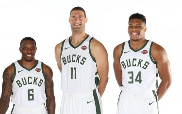 MILWAUKEE, WI - OCTOBER 4: Khris Middleton #22, Eric Beldsoe #6, Brook Lopez #11, and Giannis Antetokounmpo #34 of the Milwaukee Bucks pose for a portrait during Media Day at the Froedtert & the Medical College of Wisconsin Sports Science Center on October 4, 2019 in Milwaukee, Wisconsin. NOTE TO USER: User expressly acknowledges and agrees that, by downloading and/or using this photograph, user is consenting to the terms and conditions of the Getty Images License Agreement.  Mandatory Copyright Notice: Copyright 2019 NBAE (Photo by Gary Dineen/NBAE via Getty Images)