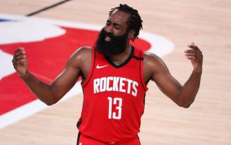 LAKE BUENA VISTA, FLORIDA - SEPTEMBER 10: James Harden #13 of the Houston Rockets reacts during the third quarter against the Los Angeles Lakers in Game Four of the Western Conference Second Round during the 2020 NBA Playoffs at AdventHealth Arena at the ESPN Wide World Of Sports Complex on September 10, 2020 in Lake Buena Vista, Florida. NOTE TO USER: User expressly acknowledges and agrees that, by downloading and or using this photograph, User is consenting to the terms and conditions of the Getty Images License Agreement.  (Photo by Michael Reaves/Getty Images)