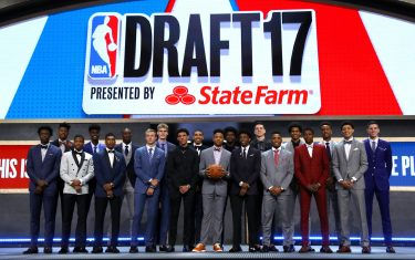 NEW YORK, NY - JUNE 22: Front Row (L-R) - OG Anunoby, Dennis Smith, Malik Monk, Luke Kennard, Lonzo Ball, Markelle Fultz, De'aaron Fox, Frank Ntilikina, Justin Jackson, Back Row (L-R) Bam Adebayo, Jonathan Isaac, Justin Patton, Lauri Markkanen, Jayson Tatum, Josh Jackson, Zach Collins, Donovan Mitchell and TJ Leaf pose prior to the 2017 NBA Draft on June 22, 2017 at Barclays Center in Brooklyn, New York. NOTE TO USER: User expressly acknowledges and agrees that, by downloading and or using this photograph, User is consenting to the terms and conditions of the Getty Images License Agreement. (Photo by Mike Stobe/Getty Images)