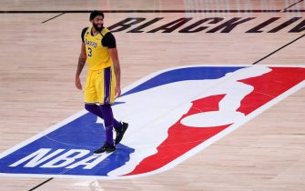 LAKE BUENA VISTA, FLORIDA - SEPTEMBER 10: Anthony Davis #3 of the Los Angeles Lakers reacts during the fourth quarter against the Houston Rockets in Game Four of the Western Conference Second Round during the 2020 NBA Playoffs at AdventHealth Arena at the ESPN Wide World Of Sports Complex on September 10, 2020 in Lake Buena Vista, Florida. NOTE TO USER: User expressly acknowledges and agrees that, by downloading and or using this photograph, User is consenting to the terms and conditions of the Getty Images License Agreement.  (Photo by Michael Reaves/Getty Images)