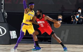 ORLANDO, FL - SEPTEMBER 10: James Harden #13 of the Houston Rockets handles the ball during the game against the Los Angeles Lakers during Game Four of the Western Conference Semifinals of the NBA Playoffs on September 10, 2020 at The AdventHealth Arena at ESPN Wide World Of Sports Complex in Orlando, Florida. NOTE TO USER: User expressly acknowledges and agrees that, by downloading and/or using this Photograph, user is consenting to the terms and conditions of the Getty Images License Agreement. Mandatory Copyright Notice: Copyright 2020 NBAE (Photo by Andrew D. Bernstein/NBAE via Getty Images)