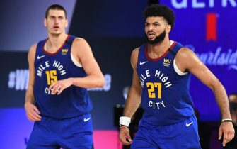 ORLANDO, FL - SEPTEMBER 11: Nikola Jokic #15 and Jamal Murray #27 of the Denver Nuggets run up court against the LA Clippers during Game Five of the Western Conference Semifinals of the NBA Playoffs on September 11, 2020 in Orlando, Florida at The Field House. NOTE TO USER: User expressly acknowledges and agrees that, by downloading and/or using this photograph, user is consenting to the terms and conditions of the Getty Images License Agreement.  Mandatory Copyright Notice: Copyright 2020 NBAE (Photo by Garrett Ellwood/NBAE via Getty Images)