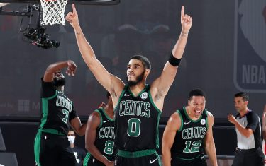 ORLANDO, FL - SEPTEMBER 11: Jayson Tatum #0 of the Boston Celtics reacts to a play during the game against the Toronto Raptors during Game Seven of the Eastern Conference Semifinals of the NBA Playoffs on September 11, 2020 at The AdventHealth Arena at ESPN Wide World Of Sports Complex in Orlando, Florida. NOTE TO USER: User expressly acknowledges and agrees that, by downloading and/or using this Photograph, user is consenting to the terms and conditions of the Getty Images License Agreement. Mandatory Copyright Notice: Copyright 2020 NBAE (Photo by Nathaniel S. Butler/NBAE via Getty Images)