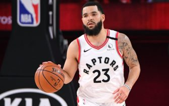 ORLANDO, FL - SEPTEMBER 11: Fred VanVleet #23 of the Toronto Raptors brings the ball up court against the Boston Celtics during Game Seven of the Eastern Conference SemiFinals of the NBA Playoffs on September 11, 2020 at AdventHealth Arena in Orlando, Florida. NOTE TO USER: User expressly acknowledges and agrees that, by downloading and/or using this Photograph, user is consenting to the terms and conditions of the Getty Images License Agreement. Mandatory Copyright Notice: Copyright 2020 NBAE (Photo by Andrew D. Bernstein/NBAE via Getty Images)