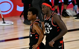 ORLANDO, FL - SEPTEMBER 5: Kyle Lowry #7 and Pascal Siakam #43 of the Toronto Raptors discuss the plan in the game against the Boston Celtics for Game four of the second round of the 2020 Playoffs as part of the NBA Restart 2020 on September 5, 2020 at The Field House at ESPN Wide World of Sports Complex in Orlando, Florida. NOTE TO USER: User expressly acknowledges and agrees that, by downloading and/or using this photograph, user is consenting to the terms and conditions of the Getty Images License Agreement.  Mandatory Copyright Notice: Copyright 2020 NBAE (Photo by Fernando Medina/NBAE via Getty Images)