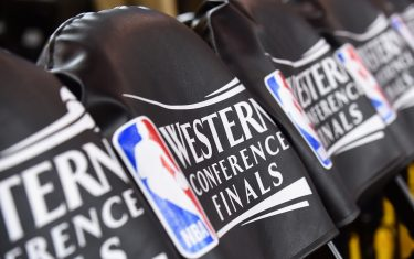 OAKLAND, CA - MAY 14: A close up view of the Western Confernce Finals logo before the game between the Golden State Warriors and the San Antonio Spurs during Game One of the Western Conference Finals of the 2017 NBA Playoffs on May 14, 2017 at ORACLE Arena in Oakland, California. NOTE TO USER: User expressly acknowledges and agrees that, by downloading and or using this photograph, user is consenting to the terms and conditions of Getty Images License Agreement. Mandatory Copyright Notice: Copyright 2017 NBAE (Photo by Noah Graham/NBAE via Getty Images)