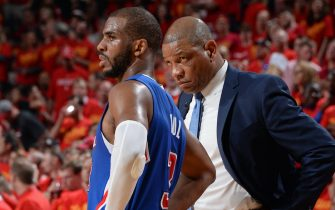 HOUSTON, TX - MAY 17:  Chris Paul #3 and Doc Rivers of the Los Angeles Clippers talk during Game Seven of the Western Conference Semifinals against the Houston Rockets during the 2015 NBA Playoffs on May 17, 2015 at the Toyota Center in Houston, Texas. NOTE TO USER: User expressly acknowledges and agrees that, by downloading and or using this photograph, User is consenting to the terms and conditions of the Getty Images License Agreement. Mandatory Copyright Notice: Copyright 2015 NBAE (Photo by Andrew D. Bernstein/NBAE via Getty Images)