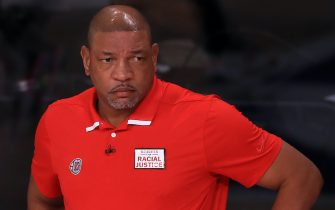 LAKE BUENA VISTA, FLORIDA - SEPTEMBER 13: Doc Rivers of the LA Clippers during the first quarter against the Denver Nuggets in Game Six of the Western Conference Second Round during the 2020 NBA Playoffs at AdventHealth Arena at the ESPN Wide World Of Sports Complex on September 12, 2020 in Lake Buena Vista, Florida. NOTE TO USER: User expressly acknowledges and agrees that, by downloading and or using this photograph, User is consenting to the terms and conditions of the Getty Images License Agreement. (Photo by Michael Reaves/Getty Images)