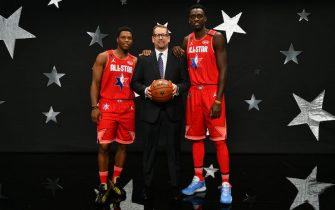 CHICAGO, IL - FEBRUARY 16: Kyle Lowry, Head Coach, Nick Nurse  and Pascal Siakam of Team Giannis pose for a photo before the 69th NBA All-Star Game on February 16, 2020 at the United Center in Chicago, Illinois. NOTE TO USER: User expressly acknowledges and agrees that, by downloading and or using this photograph, User is consenting to the terms and conditions of the Getty Images License Agreement. Mandatory Copyright Notice: Copyright 2020 NBAE (Photo by Jesse D. Garrabrant/NBAE via Getty Images)