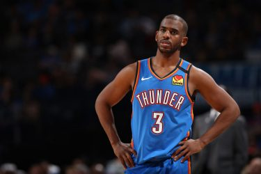 OKLAHOMA CITY, OK - FEBRUARY 7: Chris Paul #3 of the Oklahoma City Thunder looks on during the game against the Detroit Pistons on February 7, 2020 at Chesapeake Energy Arena in Oklahoma City, Oklahoma. NOTE TO USER: User expressly acknowledges and agrees that, by downloading and or using this photograph, User is consenting to the terms and conditions of the Getty Images License Agreement. Mandatory Copyright Notice: Copyright 2020 NBAE (Photo by Zach Beeker/NBAE via Getty Images)
