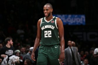 WASHINGTON, DC - FEBRUARY 24: Khris Middleton #22 of the Milwaukee Bucks smiles during the game against the Washington Wizards on February 24, 2020 at Capital One Arena in Washington, DC. NOTE TO USER: User expressly acknowledges and agrees that, by downloading and or using this Photograph, user is consenting to the terms and conditions of the Getty Images License Agreement. Mandatory Copyright Notice: Copyright 2020 NBAE (Photo by Ned Dishman/NBAE via Getty Images)