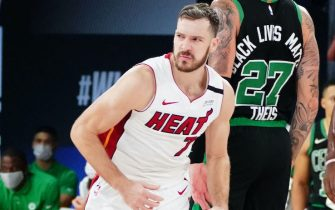 ORLANDO, FL - SEPTEMBER 17: Goran Dragic #7 of the Miami Heat reacts during a game against the Boston Celtics during Game Two of the Eastern Conference Finals of the NBA Playoffs on September 17, 2020 at the AdventHealth Arena at ESPN Wide World Of Sports Complex in Orlando, Florida. NOTE TO USER: User expressly acknowledges and agrees that, by downloading and/or using this Photograph, user is consenting to the terms and conditions of the Getty Images License Agreement. Mandatory Copyright Notice: Copyright 2020 NBAE (Photo by Jesse D. Garrabrant/NBAE via Getty Images)