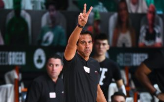 ORLANDO, FL - SEPTEMBER 17: Head Coach Erik Spoelstra of the Miami Heat looks on during the game against the Boston Celtics during Game Two of the Eastern Conference Finals on September 17, 2020 in Orlando, Florida at AdventHealth Arena. NOTE TO USER: User expressly acknowledges and agrees that, by downloading and/or using this Photograph, user is consenting to the terms and conditions of the Getty Images License Agreement. Mandatory Copyright Notice: Copyright 2020 NBAE (Photo by Garrett Ellwood/NBAE via Getty Images)