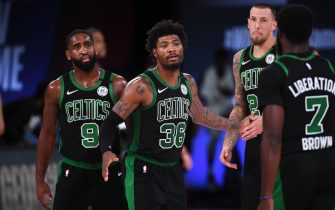 ORLANDO, FL - SEPTEMBER 17: Marcus Smart #36 of the Boston Celtics looks on during the game against the Miami Heat during Game Two of the Eastern Conference Finals on September 17, 2020 in Orlando, Florida at AdventHealth Arena. NOTE TO USER: User expressly acknowledges and agrees that, by downloading and/or using this Photograph, user is consenting to the terms and conditions of the Getty Images License Agreement. Mandatory Copyright Notice: Copyright 2020 NBAE (Photo by Garrett Ellwood/NBAE via Getty Images)