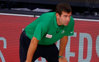LAKE BUENA VISTA, FLORIDA - SEPTEMBER 17: Brad Stevens of the Boston Celtics during the second quarter against the Miami Heat in Game Two of the Eastern Conference Finals during the 2020 NBA Playoffs at AdventHealth Arena at the ESPN Wide World Of Sports Complex on September 17, 2020 in Lake Buena Vista, Florida. NOTE TO USER: User expressly acknowledges and agrees that, by downloading and or using this photograph, User is consenting to the terms and conditions of the Getty Images License Agreement.  (Photo by Kevin C. Cox/Getty Images)