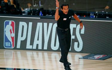 Aug 22, 2020; Lake Buena Vista, Florida, USA; Miami Heat head coach Erik Spoelstra reacts to a play during the first half of Game 3 of an NBA basketball first-round playoff series against the Indiana Pacers at AdventHealth Arena. Mandatory Credit: Kim Klement-USA TODAY Sports