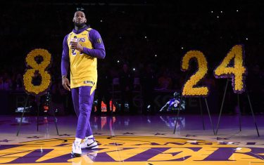 LOS ANGELES, CALIFORNIA - JANUARY 31:  LeBron James speaks during the Los Angeles Lakers pregame ceremony to honor Kobe Bryant before the game against the Portland Trail Blazers at Staples Center on January 31, 2020 in Los Angeles, California. (Photo by Harry How/Getty Images)