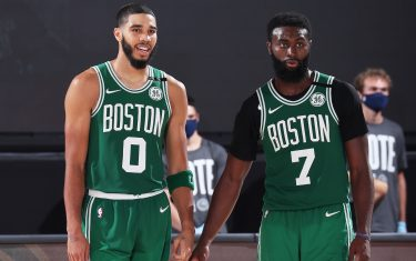 ORLANDO, FL - SEPTEMBER 19: Jayson Tatum #0 of the Boston Celtics and Jaylen Brown #7 of the Boston Celtics look on during the game against the Miami Heat during Game Three of the Eastern Conference Finals of the NBA Playoffs on September 19, 2020 at The AdventHealth Arena at ESPN Wide World Of Sports Complex in Orlando, Florida. NOTE TO USER: User expressly acknowledges and agrees that, by downloading and/or using this Photograph, user is consenting to the terms and conditions of the Getty Images License Agreement. Mandatory Copyright Notice: Copyright 2020 NBAE (Photo by Nathaniel S. Butler/NBAE via Getty Images)