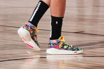 ORLANDO, FL - SEPTEMBER 17: The sneakers worn by Daniel Theis #27 of the Boston Celtics during the game against the Miami Heat during Game Two of the Eastern Conference Finals of the NBA Playoffs on September 17, 2020 at The AdventHealth Arena at ESPN Wide World Of Sports Complex in Orlando, Florida. NOTE TO USER: User expressly acknowledges and agrees that, by downloading and/or using this Photograph, user is consenting to the terms and conditions of the Getty Images License Agreement. Mandatory Copyright Notice: Copyright 2020 NBAE (Photo by Nathaniel S. Butler/NBAE via Getty Images)
