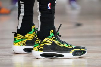 ORLANDO, FL - SEPTEMBER 19: The sneakers of Kemba Walker #8 of the Boston Celtics are worn during a game against the Miami Heat during Game Two of the Eastern Conference Finals of the NBA Playoffs on September 19, 2020 at the AdventHealth Arena at ESPN Wide World Of Sports Complex in Orlando, Florida. NOTE TO USER: User expressly acknowledges and agrees that, by downloading and/or using this Photograph, user is consenting to the terms and conditions of the Getty Images License Agreement. Mandatory Copyright Notice: Copyright 2020 NBAE (Photo by Jesse D. Garrabrant/NBAE via Getty Images)