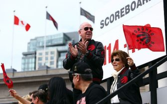 TORONTO, ON - JUNE 17:  Larry Tanenbaum, chairman of MLSE, owners of the Toronto Raptors, waves to the crowd during the Toronto Raptors Victory Parade on June 17, 2019 in Toronto, Canada. The Toronto Raptors beat the Golden State Warriors 4-2 to win the 2019 NBA Finals.  NOTE TO USER: User expressly acknowledges and agrees that, by downloading and or using this photograph, User is consenting to the terms and conditions of the Getty Images License Agreement.  (Photo by Vaughn Ridley/Getty Images)