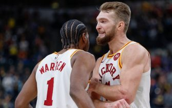INDIANAPOLIS, IN - NOVEMBER 23: T.J. Warren #1 and Domantas Sabonis #11 of the Indiana Pacers celebrate during the game against the Orlando Magic at Bankers Life Fieldhouse on November 23, 2019 in Indianapolis, Indiana. NOTE TO USER: User expressly acknowledges and agrees that, by downloading and or using this photograph, User is consenting to the terms and conditions of the Getty Images License Agreement. (Photo by Michael Hickey/Getty Images)