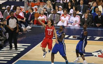 ARLINGTON, TX - FEBRUARY 14:  Steve Nash #13 of the Western shoots the ball over LeBron James of the Eastern Conference during the NBA All-Star Game as part of the 2010 NBA All-Star Weekend at Cowboys Stadium on February 14, 2010 in Arlington, Texas. NOTE TO USER: User expressly acknowledges and agrees that, by downloading and or using this photograph, User is consenting to the terms and conditions of the Getty Images License Agreement. Mandatory Copyright Notice: Copyright 2010 NBAE (Photo by Joe Murphy/NBAE via Getty Images)