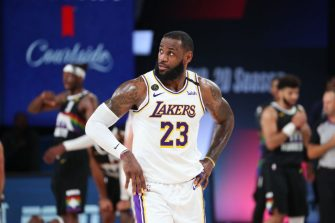 ORLANDO, FL - SEPTEMBER 22: LeBron James #23 of the Los Angeles Lakers looks on during the game against the Denver Nuggets during Game Three of the Western Conference Finals on September 22, 2020 in Orlando, Florida at AdventHealth Arena. NOTE TO USER: User expressly acknowledges and agrees that, by downloading and/or using this Photograph, user is consenting to the terms and conditions of the Getty Images License Agreement. Mandatory Copyright Notice: Copyright 2020 NBAE (Photo by Nathaniel S. Butler/NBAE via Getty Images)