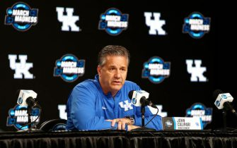 KANSAS CITY, MISSOURI - MARCH 28: Head coach John Calipari of the Kentucky Wildcats speaks with the media at a press conference during a practice session ahead of the 2019 NCAA Basketball Tournament Midwest Regional at Sprint Center on March 28, 2019 in Kansas City, Missouri. (Photo by Tim Bradbury/Getty Images)
