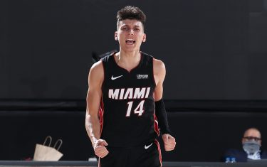 ORLANDO, FL - SEPTEMBER 23: Tyler Herro #14 of the Miami Heat reacts to a play during the game against the Boston Celtics during Game Four of the Eastern Conference Finals of the NBA Playoffs on September 23, 2020 at The AdventHealth Arena at ESPN Wide World Of Sports Complex in Orlando, Florida. NOTE TO USER: User expressly acknowledges and agrees that, by downloading and/or using this Photograph, user is consenting to the terms and conditions of the Getty Images License Agreement. Mandatory Copyright Notice: Copyright 2020 NBAE (Photo by Nathaniel S. Butler/NBAE via Getty Images)
