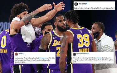 ORLANDO, FL - SEPTEMBER 26: The Los Angeles Lakers reacts to winning the Western Conference Finals of the NBA Playoffs on September 26, 2020 at AdventHealth Arena in Orlando, Florida. NOTE TO USER: User expressly acknowledges and agrees that, by downloading and/or using this Photograph, user is consenting to the terms and conditions of the Getty Images License Agreement. Mandatory Copyright Notice: Copyright 2020 NBAE (Photo by Nathaniel S. Butler/NBAE via Getty Images)