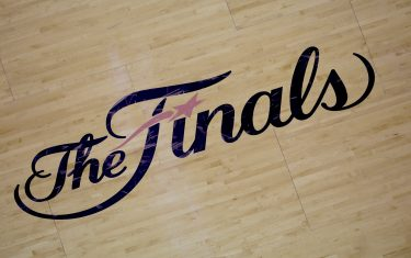 """MIAMI, FL - JUNE 9: Here is a photograph of """"The Finals"""" logo during Game Two of the 2013 NBA Finals on June 9, 2013 at American Airlines Arena in Miami, Florida. NOTE TO USER: User expressly acknowledges and agrees that, by downloading and or using this photograph, User is consenting to the terms and conditions of the Getty Images License Agreement. Mandatory Copyright Notice: Copyright 2013 NBAE (Photo by Noah Graham/NBAE via Getty Images)"""