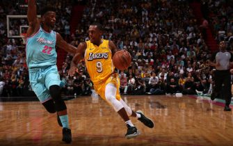 MIAMI, FL - DECEMBER 13: Rajon Rondo #9 of the Los Angeles Lakers handles the ball against the Miami Heat on December 13 , 2019 at American Airlines Arena in Miami, Florida. NOTE TO USER: User expressly acknowledges and agrees that, by downloading and or using this Photograph, user is consenting to the terms and conditions of the Getty Images License Agreement. Mandatory Copyright Notice: Copyright 2019 NBAE (Photo by Issac Baldizon/NBAE via Getty Images)