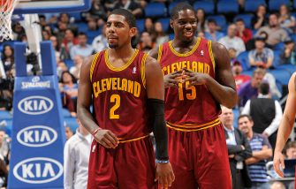 ORLANDO, FL - DECEMBER 13: Kyrie Irving #2 and Anthony Bennett #15 of the Cleveland Cavaliers look on against the Orlando Magic during the game on December 13, 2013 at Amway Center in Orlando, Florida. NOTE TO USER: User expressly acknowledges and agrees that, by downloading and or using this photograph, User is consenting to the terms and conditions of the Getty Images License Agreement. Mandatory Copyright Notice: Copyright 2013 NBAE  (Photo by Fernando Medina/NBAE via Getty Images)