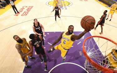 LOS ANGELES, CA - DECEMBER 10:  Lance Stephenson #6 of the Los Angeles Lakers shoots the ball against the Miami Heat on December 10, 2018 at STAPLES Center in Los Angeles, California. NOTE TO USER: User expressly acknowledges and agrees that, by downloading and/or using this Photograph, user is consenting to the terms and conditions of the Getty Images License Agreement. Mandatory Copyright Notice: Copyright 2018 NBAE (Photo by Andrew D. Bernstein/NBAE via Getty Images)