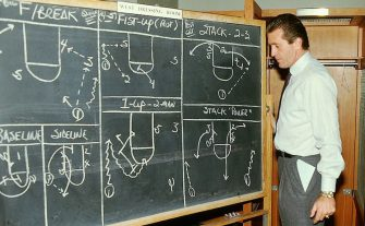 SEATTLE - FEBRUARY 8:  Head Coach Pat Riley of the Western Conference All-Stars goes over a series of plays in the locker room prior to coaching in the 1987 NBA All-Star game against the Eastern Conference at Key Arena on February 8, 1987 in Seattle, Washington.  NOTE TO USER: User expressly acknowledges and agrees that, by downloading and/or using this Photograph, user is consenting to the terms and conditions of the Getty Images License Agreement.  Mandatory Copyright Notice: Copyright 1987 NBAE (Photo by Andrew D. Bernstein/NBAE via Getty Images)
