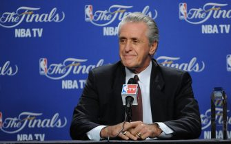 MIAMI, FL - JUNE 19: Pat Riley, President of the Miami Heat addresses the media after being announced the Chuck Daly Lifetime Achievement Award prior to Game Four of the 2012 NBA Finals at American Airlines Arena on June 19, 2012 in Miami, Florida. NOTE TO USER: User expressly acknowledges and agrees that, by downloading and or using this Photograph, user is consenting to the terms and conditions of the Getty Images License Agreement. Mandatory Copyright Notice: Copyright 2012 NBAE (Photo by Garrett Ellwood/NBAE via Getty Images)