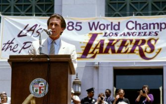 LOS ANGELES - JUNE 1985:  Head Coach Pat Riley of the Los Angeles Lakers address the crowd during the celebration parade after winning the 1985 NBA Finals against the Bost Celtics circa 1985 in Los Angeles, California.  NOTE TO USER: User expressly acknowledges and agrees that, by downloading and/or using this Photograph, user is consenting to the terms and conditions of the Getty Images License Agreement.  Mandatory Copyright Notice: Copyright 1985 NBAE (Photo by Andrew D. Bernstein/NBAE via Getty Images)